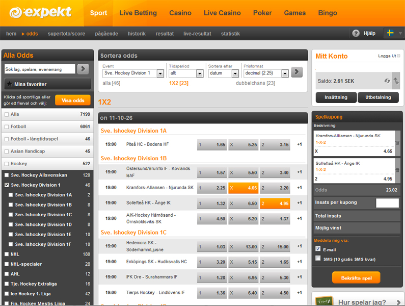 Online Betting in Sports with Expekt | Latest Sports Odds